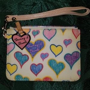 Rare! Dooney & Bourke Colorful Hearts Wristlet